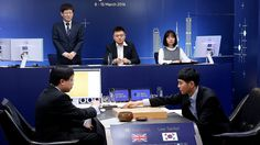 South Korean Go grandmaster Lee Se-Dol (R) makes a move during the first in a five-game series against AlphaGo in Seoul on March Data Science, Science And Technology, Go Master, Brain Pictures, Computer Internet, What Next, Computer Programming, Best Player, Artificial Intelligence
