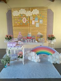 Rainbow First Birthday, Rainbow Unicorn Party, Unicorn Birthday, 9th Birthday Parties, 1st Birthdays, Shower Bebe, Baby Shower, Cloud Party, Birthday Frames