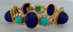 Van Cleef & Arpels Lapis Lazuli Turquoise Diamond Gold Bracelet c1970s   From a unique collection of vintage more bracelets at http://www.1stdibs.com/jewelry/bracelets/more-bracelets/