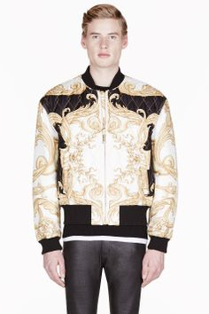 VERSACE Black   gold silk quilted bomber jacket Bomber Jacket Men 020a85bdb77b