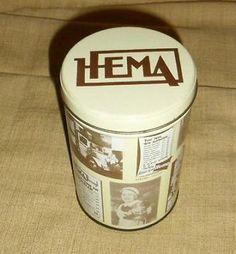 ≥ Hema bewaar blik nostalgie met oud logo en oude reclames - Blikken - Marktplaats.nl