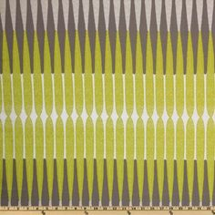 Gray/Chartreuse Bamboo Stripe Fabric