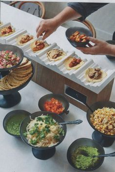 Who doesn't love a good taco bar? To appeal to all guests, provide a variety of shells (hard, soft, whole wheat, gluten-free, etc.) as well as vegetarian options.