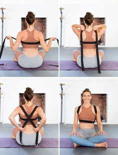 """9 Yoga Moves That'll Improve Your Posture: the """"jet pack"""" - I can do this while working on the computer #IyengarYoga #yogablocks"""