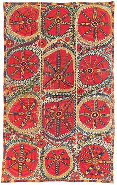 A 'Large medallion' uzbek Suzani, Bukhara, Uzbekistan, first half century. From a French private collection, Estimate price on auction Motifs Textiles, Textile Patterns, Print Patterns, Floral Patterns, Fabric Art, Fabric Design, Pattern Art, Pattern Design, Motif Floral