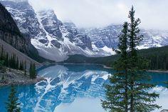 Lake Moraine in Banff National Park, Canada.