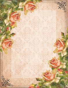 """""""A Painted Rose"""" ~ free stationery with peach roses, black border"""