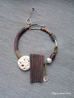Necklace of polymer clay CERNIT. Imitation wood. | by Ольга Леднева