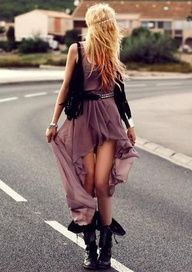 This dress is really cute and with a leather jacket over it it screams girly…