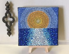 Mini Dot Art Painting - 5 X 5 Canvas With Mini Easel Display - Folk Art - Watery Sun Scatter - FREE USA SHIPPING