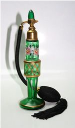 Vintage CZECHOSLOVAKIA Emerald Green Perfume Atomizer JEWEL TOP
