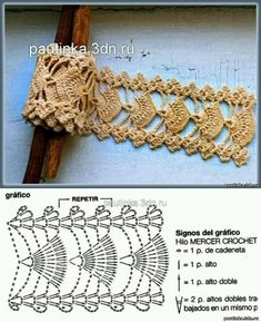 Free crochet diagram (fan motif) would be nice as a bracelet / belt. Crochet Lace Edging, Crochet Motifs, Crochet Borders, Crochet Diagram, Crochet Stitches Patterns, Crochet Chart, Thread Crochet, Crochet Trim, Love Crochet