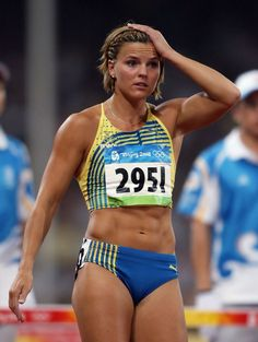 Susanna Kallur representing Sweden in the 100m. hurdles at the 2008 Beijing Olympics