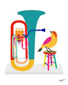 Music art print - Euphonium - musical instrument, illustration, 8x10, bird art,. $20.00, via Etsy.