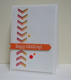 Stampin' Up! ... handmade card from Swanlady Impressions .... white and oranges ... clean and simple ... great design with negative space punched chevrons going down and up to meet at the sentiment banner ... wonderful card!
