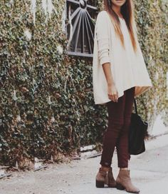 Burgundy skinnies. Cream colored flows top. Booties