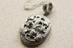 Long Silver Fleur de Lis Locket, Oval Pendant Necklace, Vintage Jewelry, French Floral Detail, Vines and Flowers, Removable Photo Frames via Etsy