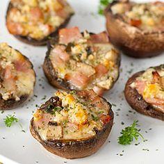 Baked Portobello Mushrooms with Ham, Cheese & Garlic
