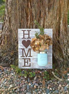 Tarro de masón del colgante de pared madera, casa muestra, Home Decor, apenado, mano pintada, pared decoración, decoración florero, rústico, Shabby Chic, Country Chic