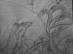 Godzilla vs King Ghidorah (Uncolored Version with obvious wet mark from where I sneezed on it) Monster Verse, Godzilla Vs King Ghidorah, Godzilla Wallpaper, Foto Top, Polygon Art, Cool Halloween Makeup, Fantasy Monster, Dragon Design, Landscape Drawings