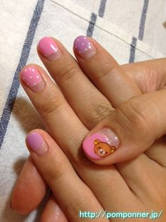 French manicure pink and purple circle