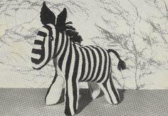 Zebra toy vintage knitting pattern PDF instant download