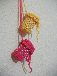 Medicine Bottle For your Chic Grandmoher. Bottle Necklace. Crochetted Bottle Cover
