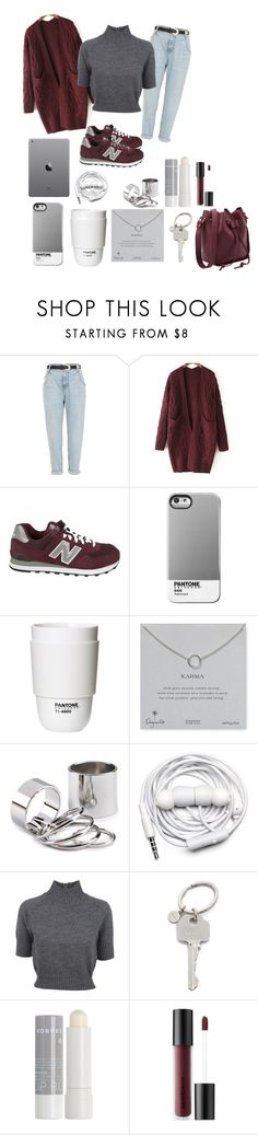 """""""Untitled #63"""" by dyannam ❤ liked on Polyvore featuring River Island, WithChic, New Balance, Case Scenario, ROOM COPENHAGEN, Dogeared, Urbanears, Carven, Paul Smith and Korres"""