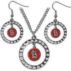 St. Louis Cardinals Rhinestone Hoop Jewelry Set