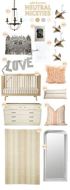 light peach, gray & aqua color scheme for nursery