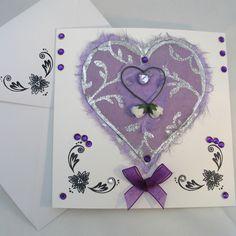 Personalised Wedding Card - Purple Heart £2.95 by Adien Crafts