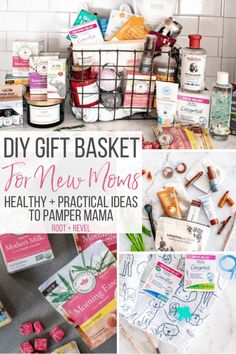 Need a gift idea for the new mama in your life? In this DIY new mom gift basket, we've put together a creative care package of natural, healthy items to perfectly support any woman, from at-home pampe New Mom Gift Basket, Diy Gift Baskets, Hospital Gift Baskets, Pregnancy Gift Baskets, Holiday Baskets, Raffle Baskets, Pregnancy Gifts, First Mothers Day Gifts, Gifts For New Moms
