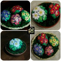 Cestini di primule Rock Flowers, Simple Flowers, Stone Painting, Rock Painting, Cactus, Painted Stones, Crafty Craft, Pebble Art, Stone Art