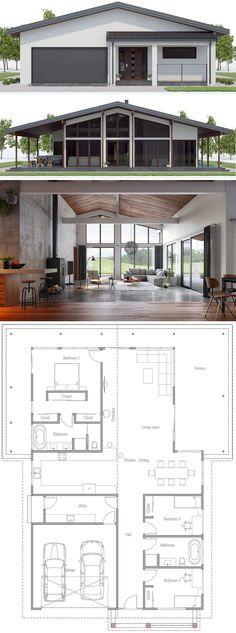 Build A Shed 767934173944001725 - Architecture, Home Plan, House Designs Source by infpus New House Plans, Dream House Plans, Small House Plans, House Floor Plans, Casas The Sims 4, Shed Homes, Tiny Homes, Dream Homes, Pole Barn Homes