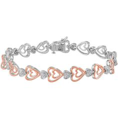 ForeverMine 1/10 CT. T.W. Diamond 14K Rose Gold/Sterling Silver Heart... ($208) ❤ liked on Polyvore featuring jewelry, bracelets, no color, diamond bangle, sterling silver bracelet, sterling silver diamond bracelet, rose gold heart bracelet and sterling silver jewelry