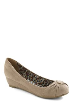 Sand Me On My Way Wedge - Grey, Solid, Ruching, Wedge, Low, Mid, Work, Casual