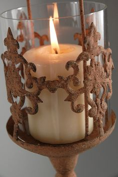 Hanging rustic candle holder...perfect for arbor!