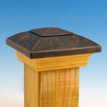 Designer Post Cap by DecKorators - Oil Rubbed Bronze with Pressure-treated Skirt