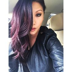 Finally used the L'oreal Feria Power Violet V48 hair dye & I'm in love  ... The color shows up beautifully & vibrant on my dark hair - this is in the car with sunlight hitting it & you can see violet/cranberry tones