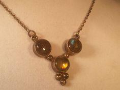 VTG Antique Sterl Silver 925 Rainbow Moonstone Lavaliere Necklace ARTS & CRAFTS #LavaliereVINTAGEANTIQUELabradoriteJewelry
