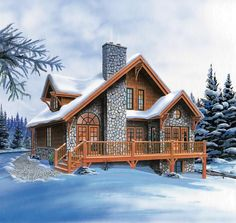 Wonderful 2 Story Bedroom Bath Log Home Plan
