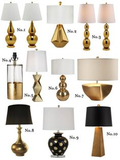 gold table lamp round up Gold Table, Sconces, Wall Lights, Touch, Lighting, Style Blog, Table Lamps, Home Decor, Baby