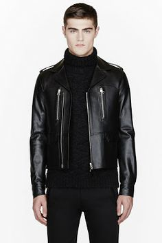 Lanvin Black Buffed Leather Biker Jacket