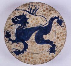 Museo Arqueológico Nacional-Plato-León; Motivos vegetales-1401=1500 (primera mitad del siglo XV)-Manises-S.O.R