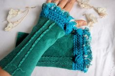 Teal velvet gloves Teal gloves Pine green by Nazcolleccolors