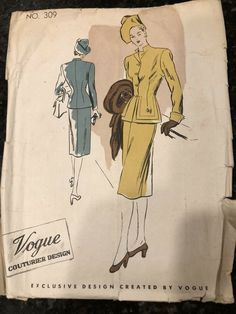 The standing collar is cut in one with fronts. Long sleeves with optional turn back flared cuffs. This is an original pattern - not. Vogue Sewing Patterns, Vintage Sewing Patterns, Stylish Suit, Pocket Pattern, Miss Dress, Fitted Skirt, Vintage Vogue, Cool Suits, Dress Patterns