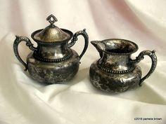 Vintage Victorian Silver Creamer and Sugar by LionheartGalleries