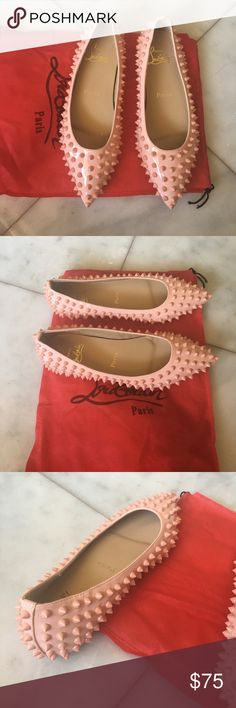stud flat red sole sz 38 new. not a real one. sz run small like 37,5. baby pink colour Christian Louboutin Shoes Flats & Loafers