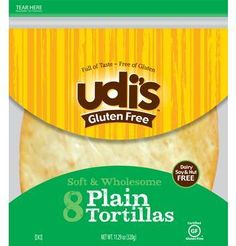 New Udi's Gluten Free Small tortillas. I like these better than any tortilla I have ever tried. Used it with chicken and onions cooked up with drop of Tzaziki (cucumber garlic) it tasted just like a Gyro. Gluten Free Wraps, Gluten Free Recipes, Gourmet Recipes, Nut Free, Dairy Free, Grain Free, Gluten Free Tortillas, Homemade Tortillas, Flour Tortillas
