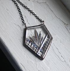 Deco Silver Arrow Necklace Vintage Glass by HouseThatCrowBuilt